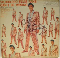 50,000,000 Elvis Fans Can't Be Wrong - Elvis' Gold Records Volume 2. Very strong, clear signature to the front cover in black ink - hand signed by Elvis Presley in the early 1970's in Las Vegas.